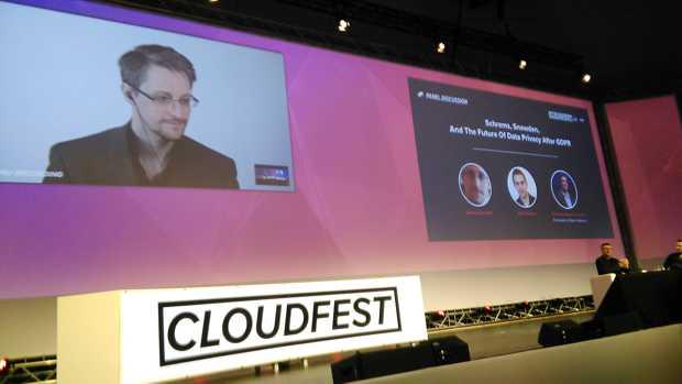 Diskussionrunde mit Edward Snowden und Max Schrems auf dem Cloudfest 2018