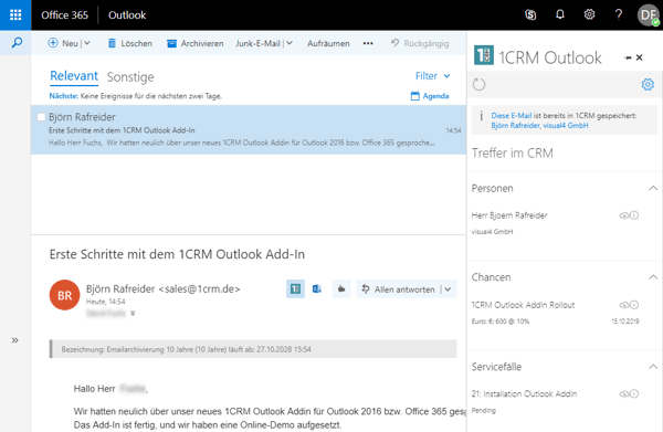 1crm outlook add-in